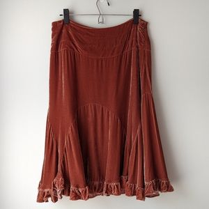 Anthropologie Odille Velvet Ruffle Midi Skirt Silk